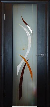 Межкомнатная шпонированная дверь Глазго витраж