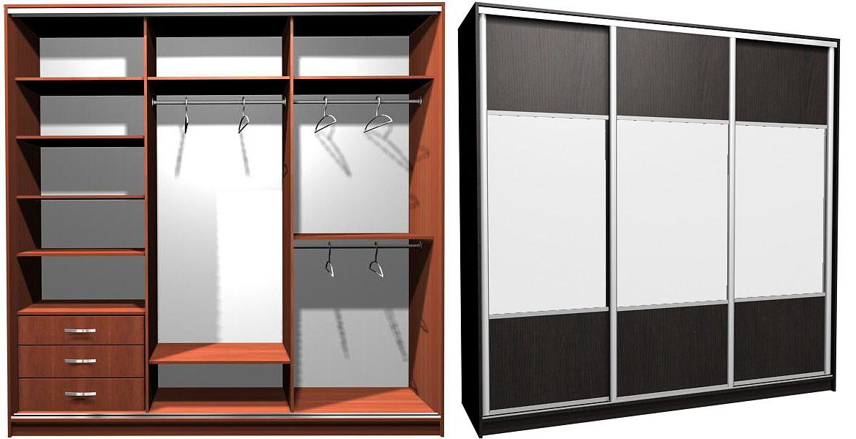 Угловые шкаф купе дизайн на 3 створках.